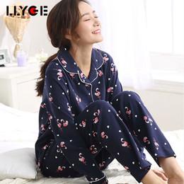 4c6e6040ca LLYGE Autumn Women Pajama 2 Pieces Sets 2018 Female Fashion Sleepwears Lady  Soft Cartoon Shirts Long Pants Homewear Pyjama Suits