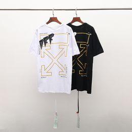 Canada Gros hommes luxe OFF design mode T shirt hommes motif géométrique de haute qualité coton teen couple T shirt simple veste taille européenne supplier quality t shirt wholesale Offre