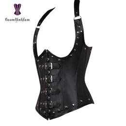 94db581cd7b Discount sexy leather corset halter - Plus Size Women s PU Leather Halter  Shoulder Straps Underbust Corset