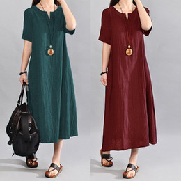 f36bcb4d72 Celmia Plus Size Women Summer Dress 2018 Vintage Linen Vestido Casual V  Neck Short Sleeve Pockets Casual Loose Midi Dresses 5XL Y19012102
