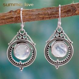 Diamante di pietra lunare online-2019 nuovo arrivo Moonstone Vintage ciondolo ciondola l'orecchino per le donne Waterdrop forma ovale rotonda diamante regalo gioielli elagant