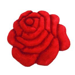 Soie bleu-vert en Ligne-Vente chaude Super Doux Soie Shag 3D Densité Rose Fleur Forme Douce et Lisse Impressionnant Deluxy Shaggy Tapis Chambre Maison Tapis 90x90cm