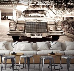 2019 carro de papel vintage [Autoadesivo] 3D Car Vintage 44760 Papel de parede mural Murais de decalque de impressão de parede carro de papel vintage barato