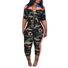 2019 camouflage outfits frauen 2-teiliges Set Frauen Camouflage Top und Hosen Zweiteiliges Set Frauen Fitness Zipper Outfits für Sommerkleidung Hosen rabatt camouflage outfits frauen