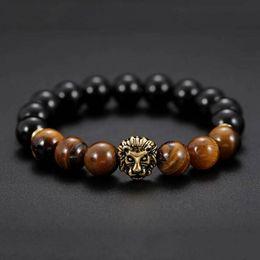 2019 conjunto de brazalete de oro antiguo Pulsera de piedra natural para hombre con piedra de ojo de tigre Pulseras para hombre Charm Lucky Golden lion Pulseras para hombres Pulsera de cuentas de piedra