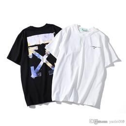 2020 nuova camicia di vernice personaggio pittura ad olio manica corta moda casual Nuovo di alta qualità OWF marchio di marea sulla allentato maschio strada hip hop girocollo in cotone T-shirt nuova camicia di vernice economici