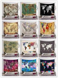 Спальные покрывала онлайн-Карта мира Печатный Гобелен Гобелен Home Decor 12 Designs пляжное полотенце Yoga Mat шаль Пикник Одеяло Скатерти Покрывало для спальни