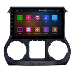 Link móvel on-line-10,1 polegadas Android 9.0 Touchscreen Car Radio para 2011 2012 2013 2014 2015 2016 2017 JEEP Wrangler Navegação GPS Espelho Link Wifi Bluetooth