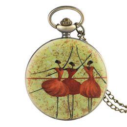 Подвески для балета онлайн-Ballet Dancer Pattern Pocket Watch Restoration Of Literature And Art Pocket Watches Classic Style Watch Pendant Clock