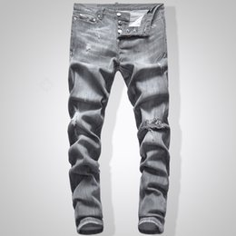 Jeans grigio sottile online-Bikini Jeans Uomo Slim Fit Denim Jeans Hip Hop Streetwear Nero 744 #