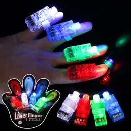2019 laser stick 4 unids / set Finger Light Shiny Neon Stick Láser Finger Vigas Colorido Anillo LED Juguete Luminoso Glow Dance Toy Shinning Ring Party Supply VT0101 laser stick baratos