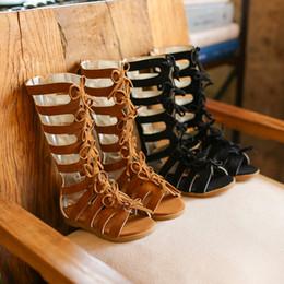 Детская обувь для девочек гладиатор онлайн-Летние модные римские сапоги Высокие верхние сандалии для девочек детские гладиаторские сандалии для малышей Детские сандалии для девочек Высококачественная обувь