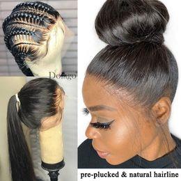 Perruques de cheveux humains en Ligne-Transparent Full Lace Wig Invisible Blanchi Noeuds Pré Plumed 13X6 Lace Front Faux Cuir Chevelu Perruque de Cheveux Humains Remy Lace Wig Noir