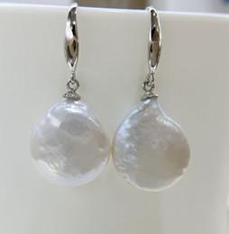 Pièces d'argent sterling en Ligne-Boucles d'oreilles baroques en forme de bouton ou de boucles d'oreilles en crochet avec perles d'eau douce naturelles, boucles d'oreilles en argent sterling