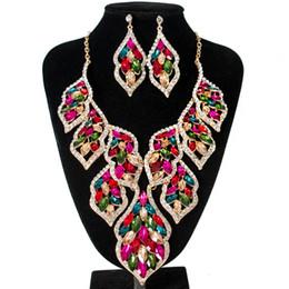 commercio all'ingrosso nuovo 2019 grandi foglie di vetro africano perline gioielli da sposa set collana color oro e orecchini per wo'men spedizione gratuita da