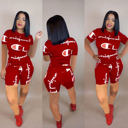 wholesale gym suits Coupons - Women Champions Letter Summer Short Suit Short Sleeve T-shirt Top tees + Shorts Pants Two Piece Set Tracksuit Jogger Gym Outfit S-2xl
