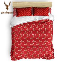 Letti trapuntati rossi online-Family Decor Red Christams Elk Set di 3 pezzi di biancheria da letto Set trapuntato trapuntato Festa del papà Giornata commemorativa della festa del papà