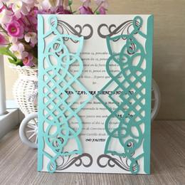 Azul Diseños Geométricos Puerta Ahueca Hacia Fuera El Papel De Perla Invitación De La Boda Envolver Matrimonio Aniversario Fiesta De Cumpleaños