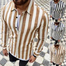 robes minces modes Promotion Chemise de costume à manches longues Slim Fit Mens Fashion Shirt rayé chemise décontractée Tops 2019