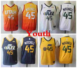camisa dos meninos 13 Desconto 2019 20 Crianças UtahJazznba 45 DonovanMitchell Basketball Jerseys Juventude Donovan Mitchell Cidade Amarela Meninos costurado Shirts