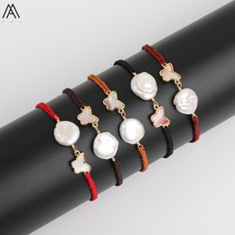 pink shell bracelet Coupons - Delicate Butterfly Shape Knotted Bracelet Adjust For Women,Pink White Black Abalone Shell With White Freshwater Baroque Pearl Beads Charms