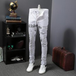 denim vestido de clube mais tamanho Desconto 2019 Novo Designer Impresso Calça Jeans Homens Moda Denim Branco Calças de Alta Qualidade Night Club Party Dress Roupas Casuais Plus Size