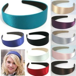 wholesale alice bands Promo Codes - Lady Solid Satin Hair Band Plain Alice Hairband Bow Hoop 3cm Width Headbands 1.1 Inch Wide Hair Band Ribbon HeadBand