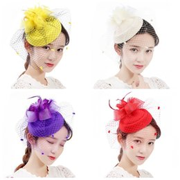 2019 clip di cappelli superiori del partito Top Hat Mesh Garza Hair Clips Wedding Party Hairpin Ladies Lace Retro Flower Show Colori Mix 8tx F1 sconti clip di cappelli superiori del partito
