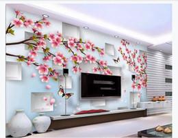 Argentina Papel tapiz mural personalizado 3d foto papel de pared Flor de durazno Flor Estéreo Luz cuadrada Elegante Moda Pastoral 3D Fondo Pared supplier flower wall light paper Suministro