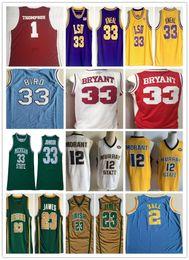 bolas de naranja Rebajas Camiseta NCAA LeBron 23 James 2019 Hombres LeBron Bird Bryant 2 Ball 33 Shaquille 12 Ja Morant Stitched Thompson Johnson College Jersey de baloncesto