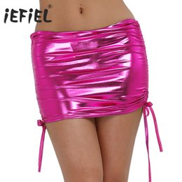 6ac76fcc2b9 mini iEFiEL Sexy Women Pole Dancing Club Wear Short Patent Leather Micro Mini  Skirts Dancing Skirt Nightclub Clothing