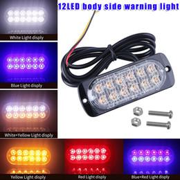 luz de advertencia 24v Rebajas Luces de LED de 36W de 12V-24V 12 LED ultradelgadas del estroboscópico del lado del camión de la emergencia del coche LED