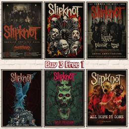 2020 autocollants de groupe de rock Slipknot lourd affiche métal papier kraft ROCK BAND Affiches affiche bar peinture décorative Rétro A1 mur autocollants de groupe de rock pas cher
