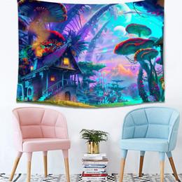 funghi a parete Sconti Wall Tapestry Fairytale Mushroom World Tapestry Wall Hanging Stampa artistica Appeso a parete Arazzo Soggiorno camera da letto Comodino Home Decor
