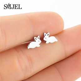 bunny earrings Coupons - Stud SMJEL Cute Black Bunny Rabbit Earrings for Women Bijoux Creative Cartoon Earings Lovely Animal Stud Earrings Gifts Kids