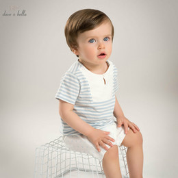 2019 belle costume blu dave bella estate baby boys set di abbigliamento blu strisce bianche imposta bambino vestiti infantili per bambini costumi DB5110 belle costume blu economici