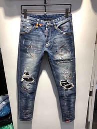point de mode hommes jeans Promotion Jeans skinny pour hommes en difficulté déchirée de créateur de mode Jeans Slim Moto Moto Biker Causal Hommes Denim Pants Hip Hop Jeans Hommes