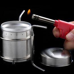 Fornello da esterno all'ingrosso-portatile Mini fornello da campeggio in acciaio inossidabile con bruciatore a spirito ultraleggero da doghe di bambù fornitori