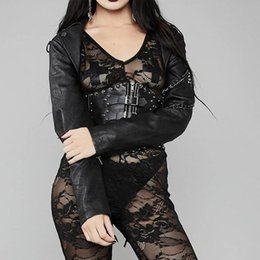 Punk-Kette Kunstlederjacken Frauen Herbst Gothic Short Oberbekleidung Streetwear Motorradjacke Cool Lace Up Casual Black Coat von Fabrikanten