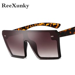 visor for sunglasses Promo Codes - New 2019 Oversized Square Sunglasses Men Women Flat Top All-Fit Mirror Sun Glasses For Female Vintage Shades Visor Oculos Top