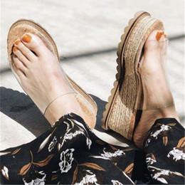 2019 прозрачная обувь из пвх плоская 19ss соломы ткачество клинья высокий каблук летние тапочки ясно ПВХ вне скольжения на слайдах мягкие плоские Flatform повседневная пляж женщина обувь скидка прозрачная обувь из пвх плоская
