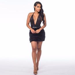 Deutschland Sexy Kleider Party Nachtclub Kleid 2019 Neue Mode Pelz Deeps V-Ausschnitt Schulterfrei Bodycon Backless Frauen Kleider Versorgung