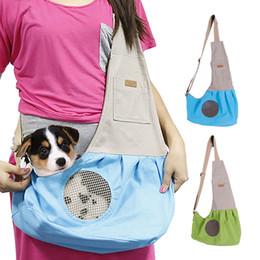 2019 sacchetto di saddlebags Canvas Dogs Cat Pet Carrier Saddlebags Pieghevole Puppy Crate Zaino Borse da trasporto Animali domestici Forniture Trasporto Accessori Chien sacchetto di saddlebags economici