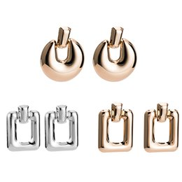 Geometric Alloy Irregular Big Moon Stud Earrings Women Creative Stereoscopic Pattern Punk Jewelry For Party Earrings Accessories Stud Earrings