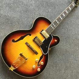 linkshänder gitarren hohlkörper jazz Rabatt Kostenlose shippingTop qualität cs farbe gold hardware Archtop humbuckers pickups dicke hohlkörper gelb e-gitarre guitarra guitars