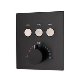 2019 válvula de chuveiro ocultada Interruptor de chuveiro oculto com botão de toque Válvula de chuveiro de água termostática de 3 vias de latão preto desconto válvula de chuveiro ocultada