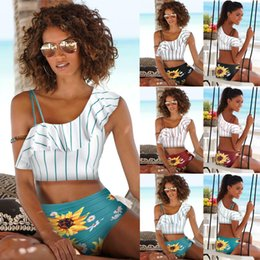 Hot swimwear americano do biquini on-line-Womens Hot Sale Europeu e Moda Sexy Striped Bikini Swimsuits americano Imprimir Strap Bikini Beach Swimwear