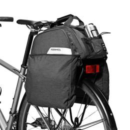 2019 portaequipajes de bicicleta ROSWHEEL 11L Mountain Road Bike Bike Pannier Bag Ciclismo Asiento Trasero Rack Trunk Bag Pack Pannier Carrier Bolso de hombro # 148583 rebajas portaequipajes de bicicleta