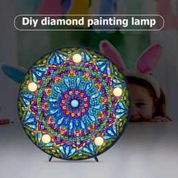 pluma de incienso Rebajas Ronda DIY Mandala Paisaje Diamante Pintura Luz DIY Bordado Lámpara Completo Especial Taladro LED Lámpara Redondo Brillante Cuentas