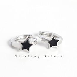 Koreanische sternmädchen online-Koreanische Pentagramm Frauen Ohrring Silber 925 Schwarz Fünf-Punkt-Stern-Bandohrring Ohrschnalle Weißgold Mädchen Modeschmuck